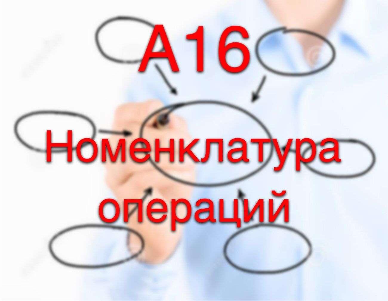 Коды операций (А16). Номенклатура медицинских услуг (16 – оперативное лечение)
